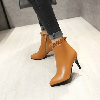 Sharp Pointed with High-Heeled Sweet Lace Fashion Naked Boots - YELLOW YELLOW