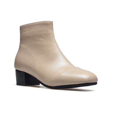Low-Heeled Rough Retro Wild Bare Boots - APRICOT 35