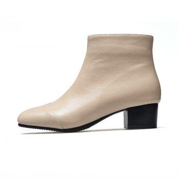 Low-Heeled Rough Retro Wild Bare Boots - APRICOT APRICOT