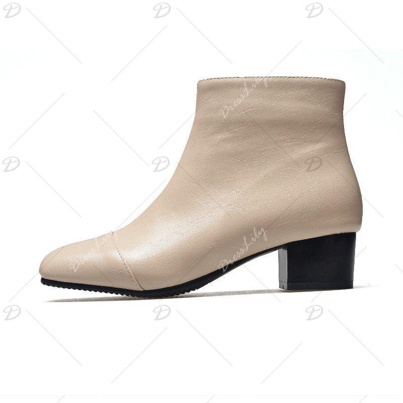 Low-Heeled Rough Retro Wild Bare Boots - APRICOT 38