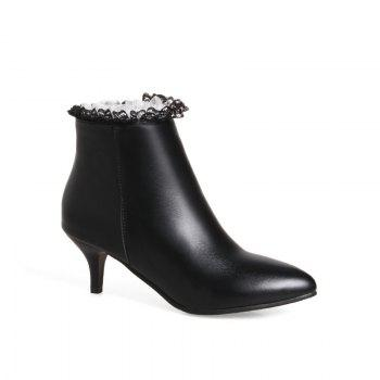 Thin Sexy Lace Fashion Bare Boots - BLACK BLACK
