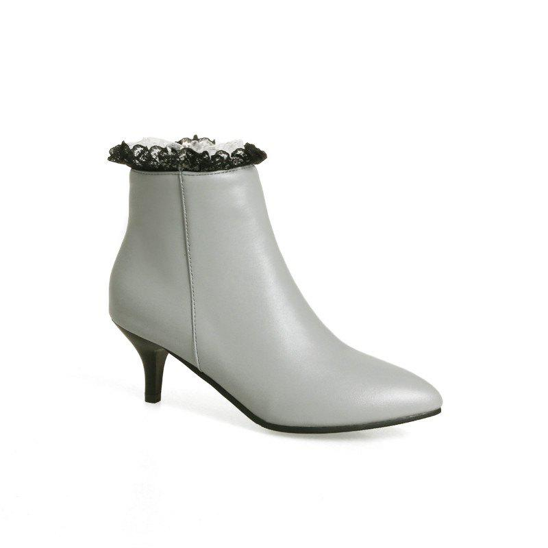 Thin Sexy Lace Fashion Bare Boots - GRAY 43