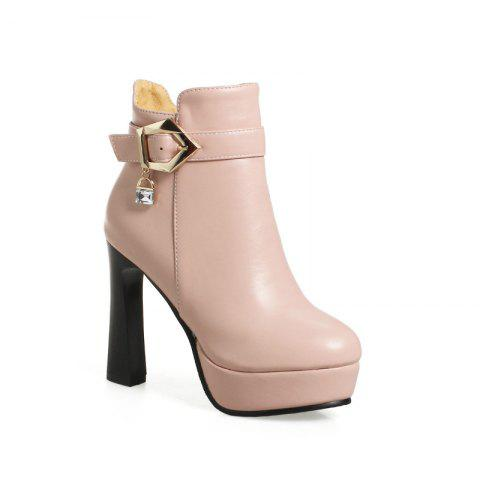 Round Head with High-Heeled Fashion Belt Buckle Boots - PINK 38
