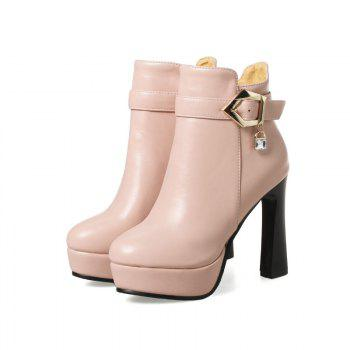 Round Head with High-Heeled Fashion Belt Buckle Boots - PINK PINK