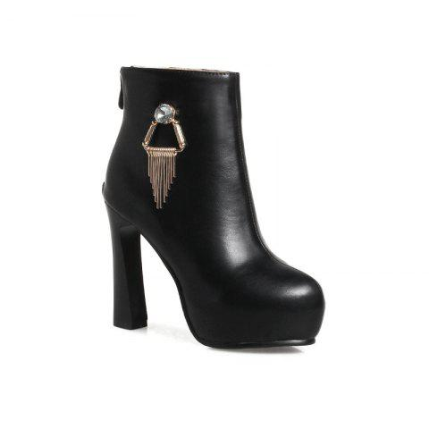 Round Head with High Heel Sexy Naked Boots - BLACK 38