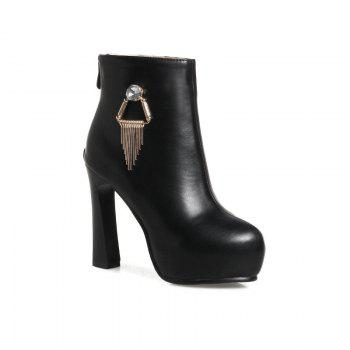 Round Head with High Heel Sexy Naked Boots - BLACK BLACK