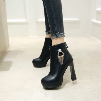 Round Head with High Heel Sexy Naked Boots - BLACK 35