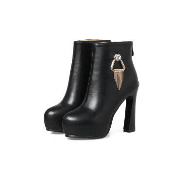 Round Head with High Heel Sexy Naked Boots - BLACK 36