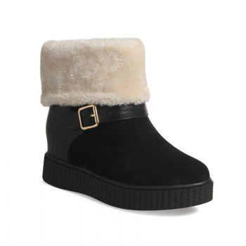 Round Flat-Bottomed Thick Warm Fashion Boots - BLACK BLACK
