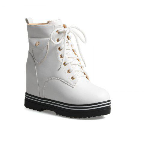 Round Flat-Bottomed Heel High Fashion Boots with Hot Martin Boots - WHITE 36