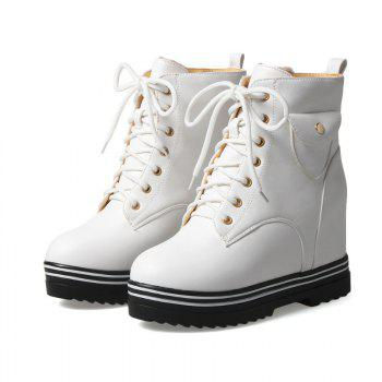 Round Flat-Bottomed Heel High Fashion Boots with Hot Martin Boots - WHITE WHITE