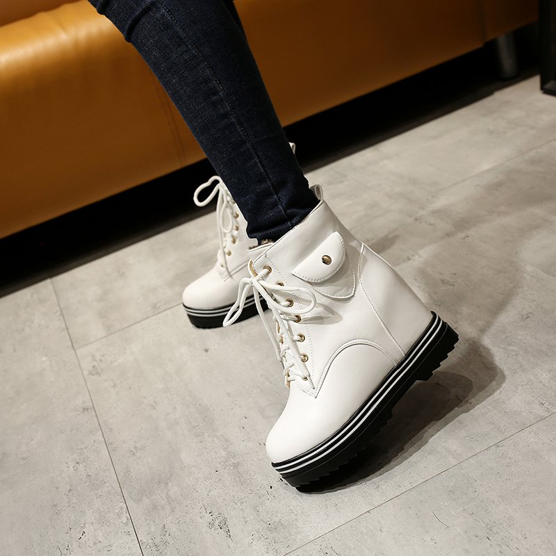 Round Flat-Bottomed Heel High Fashion Boots with Hot Martin Boots - WHITE 34