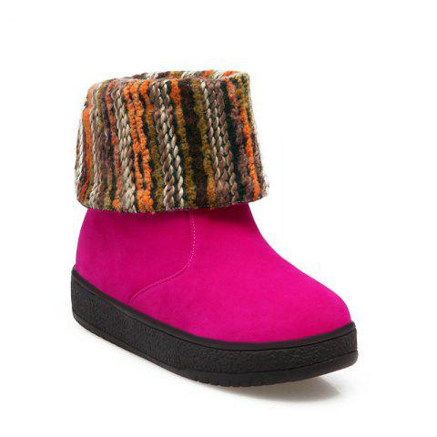 Round Flat Bottom Thick Wild  Short Boots - ROSE RED 37
