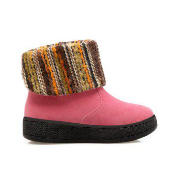 Round Flat Bottom Thick Wild  Short Boots - PINK PINK