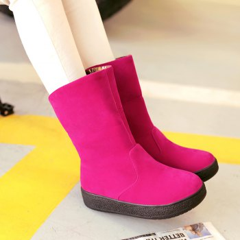 Round Flat Bottom Thick Wild  Short Boots - ROSE RED ROSE RED