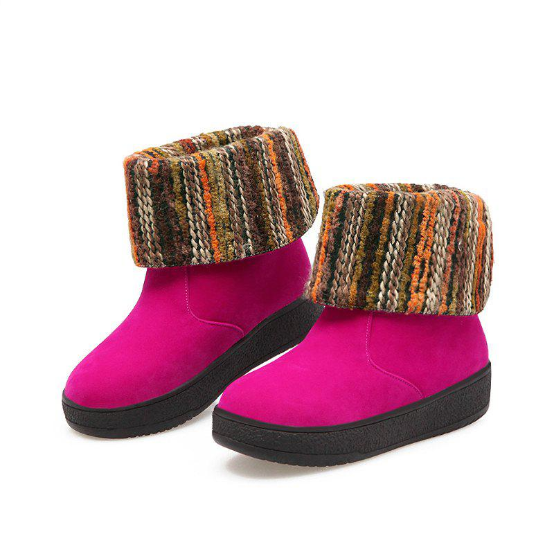 Round Flat Bottom Thick Wild  Short Boots - ROSE RED 35