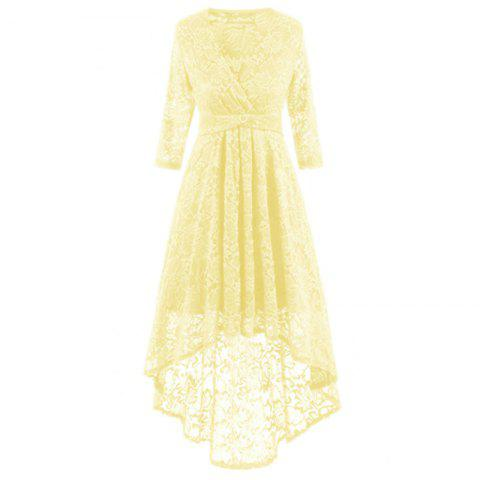 V-Neck Dovetail Lace Long Dress - YELLOW S