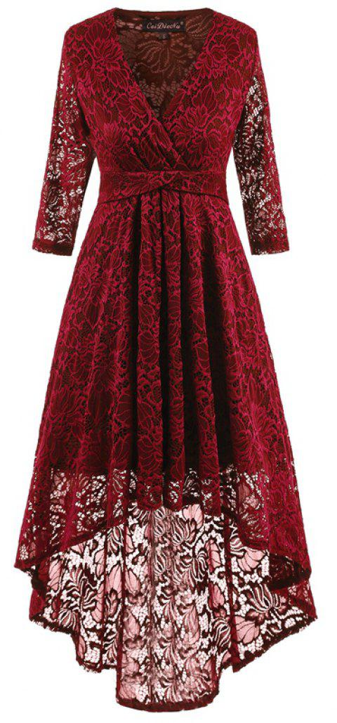 V-Neck Dovetail Lace Long Dress - WINE RED XL