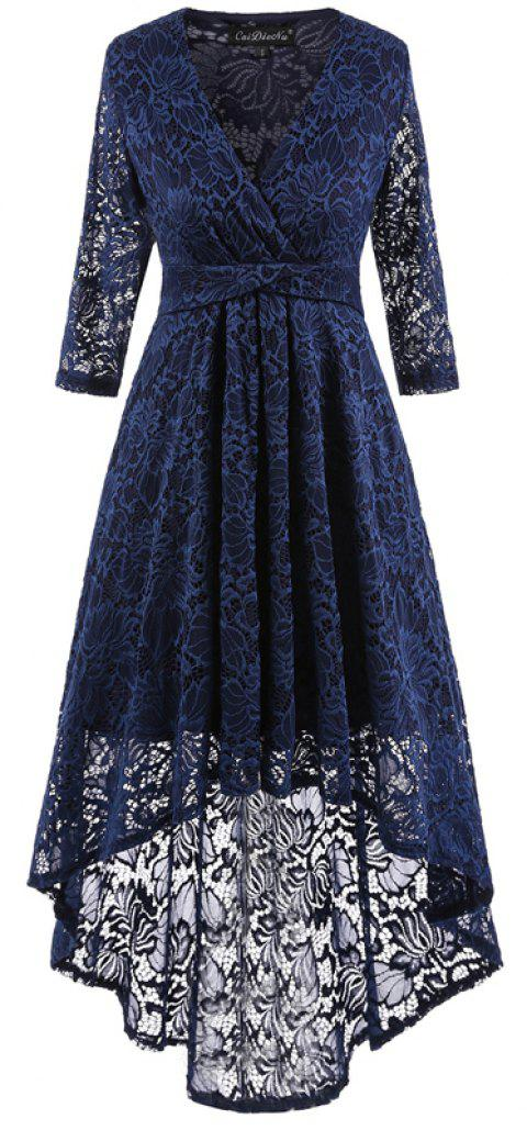 V-Neck Dovetail Lace Long Dress - PURPLISH BLUE S