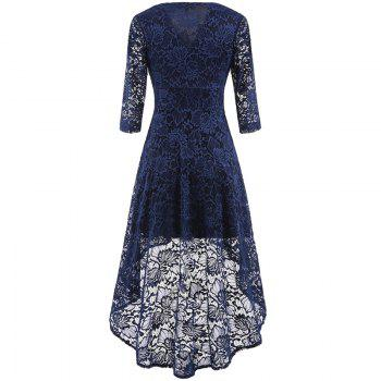 V-Neck Dovetail Lace Long Dress - PURPLISH BLUE L