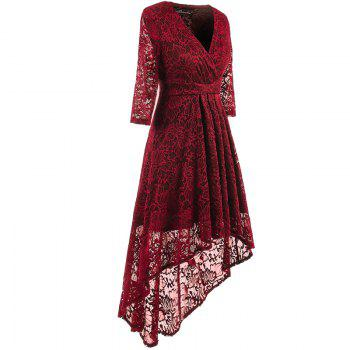 V-Neck Dovetail Lace Long Dress - WINE RED S
