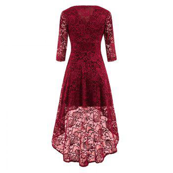 V-Neck Dovetail Lace Long Dress - WINE RED L