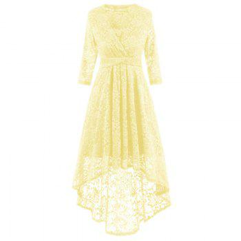 V-Neck Dovetail Lace Long Dress - YELLOW YELLOW