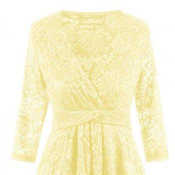 V-Neck Dovetail Lace Long Dress - YELLOW 2XL