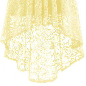 V-Neck Dovetail Lace Long Dress - YELLOW M