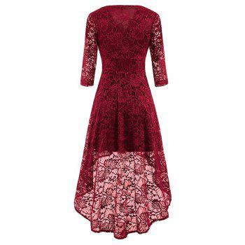 V-Neck Dovetail Lace Long Dress - WINE RED M