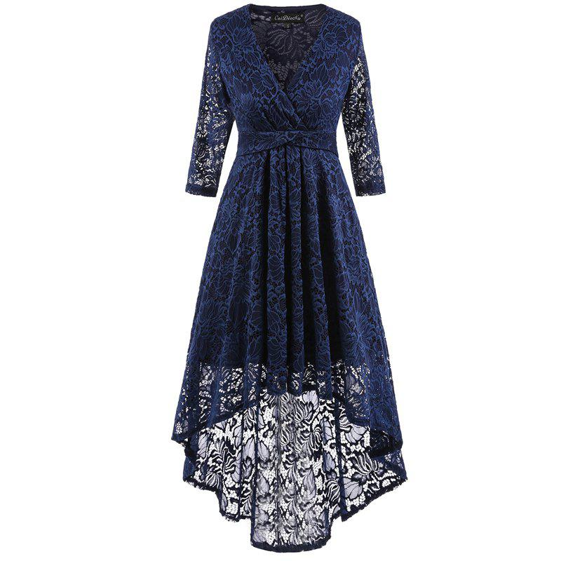 V-Neck Dovetail Lace Long Dress - PURPLISH BLUE M