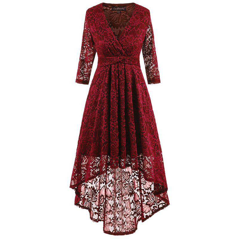Robe longue en dentelle à col en queue d'aronde - Rouge vineux XL