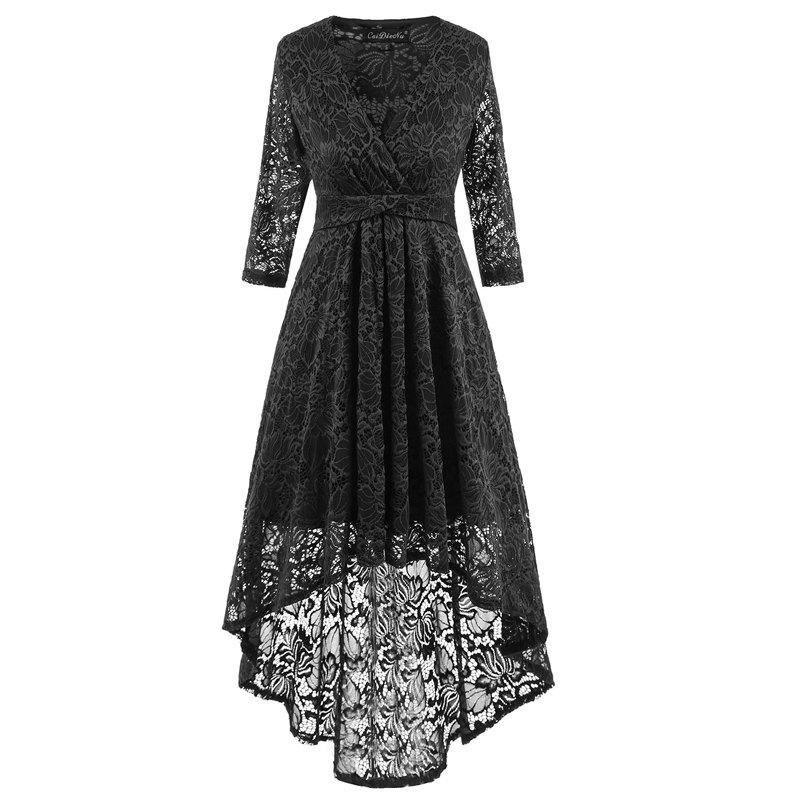 V-Neck Dovetail Lace Long Dress - BLACK L