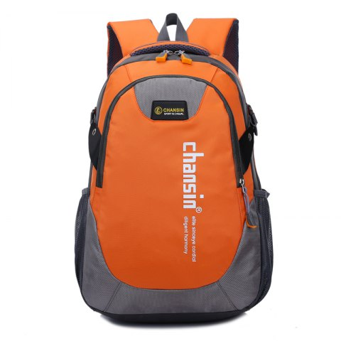 Men Women Casual Travel Package Student Book Backpack - ORANGE