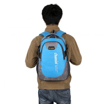 Men Women Casual Travel Package Student Book Backpack - BLUE