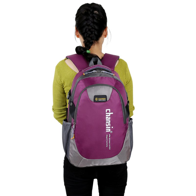 Men Women Casual Travel Package Student Book Backpack - PURPLE