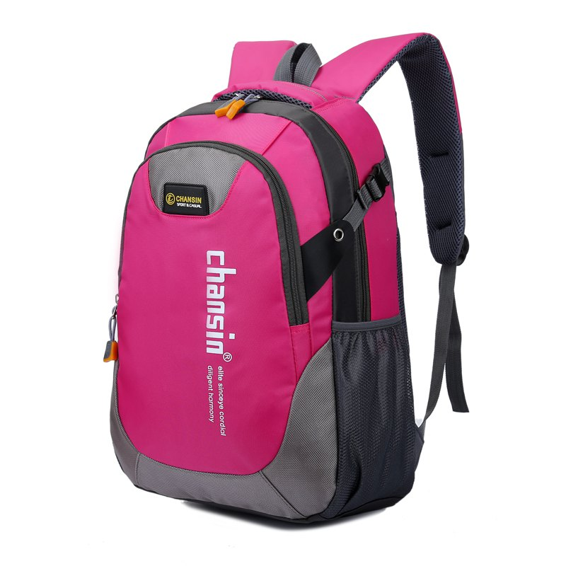 Men Women Casual Travel Package Student Book Backpack - ROSE RED