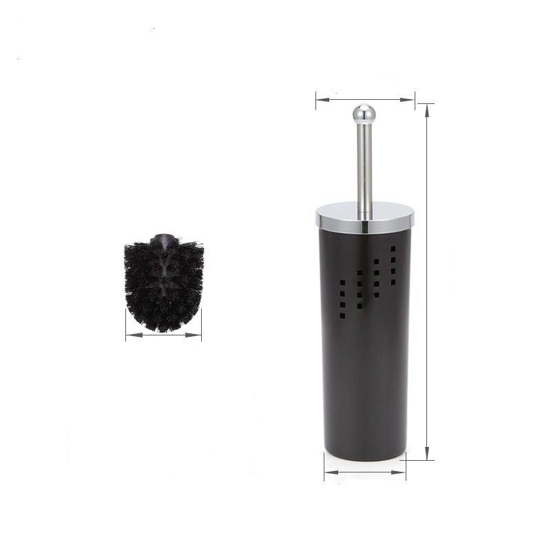 Durable and Creative Toilet Brush Holder Bathroom Brush Base Elegant WC Cleaning Accessory with a Cover - BLACK