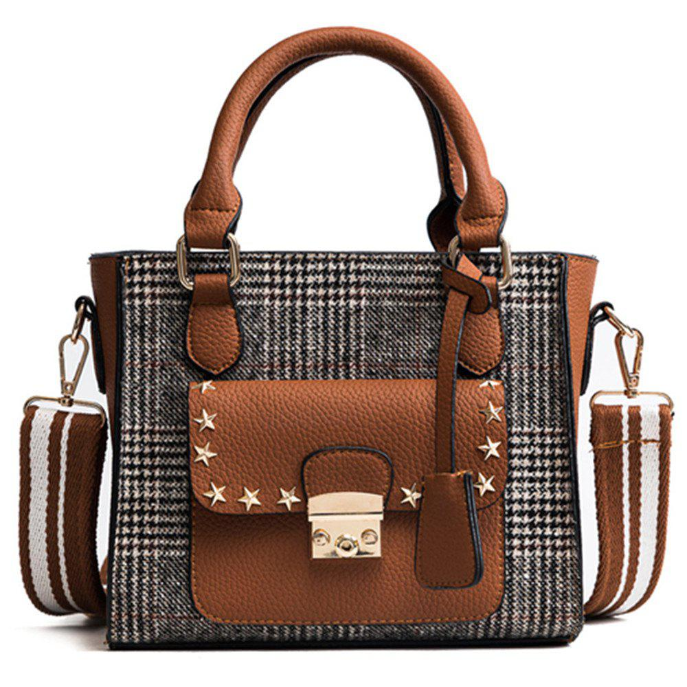 New Tote Bag Trend Lattice Shoulder Bag Handbag - LIGHT BROWN