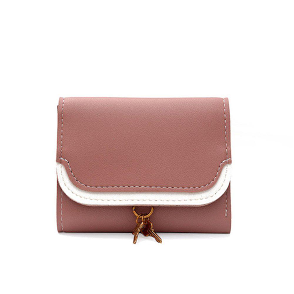Small Key Color Splicing Short Purse - PINK