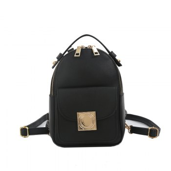 The Double Shoulder Bag Female Knapsack in The New Style of The New Fashion The Women's Single Shoulder Double Back - BLACK BLACK