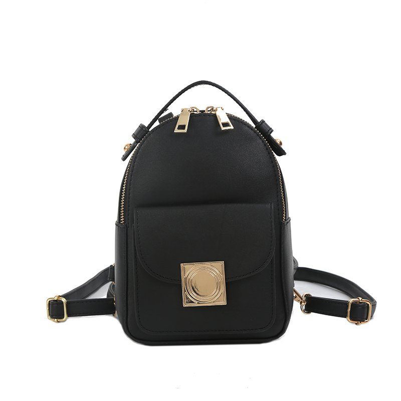 The Double Shoulder Bag Female Knapsack in The New Style of The New Fashion The Women's Single Shoulder Double Back - BLACK