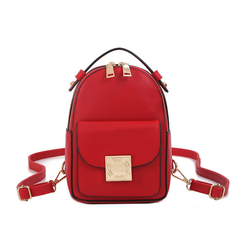 The Double Shoulder Bag Female Knapsack in The New Style of The New Fashion The Women's Single Shoulder Double Back - RED