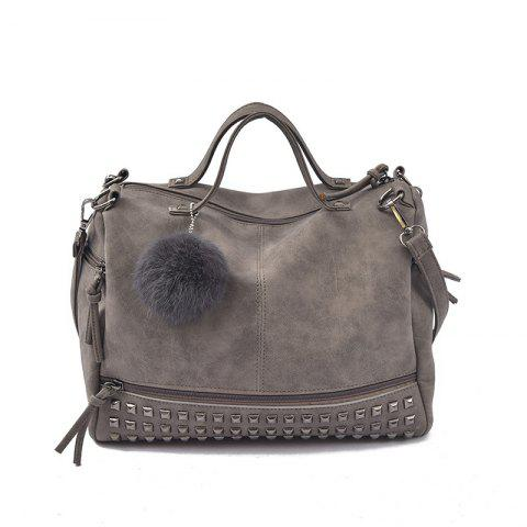 2018 New Hair Ball Ornaments Bag Nubuck Leather Rivet Motorcycle Bag Fashion Portable Bag - GRAY