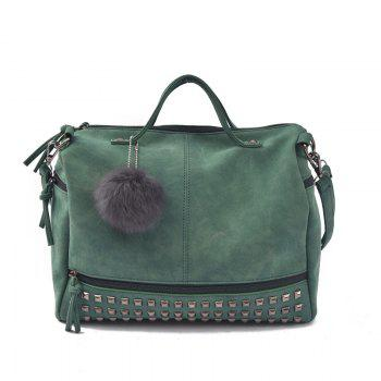 2018 New Hair Ball Ornaments Bag Nubuck Leather Rivet Motorcycle Bag Fashion Portable Bag - GREEN GREEN