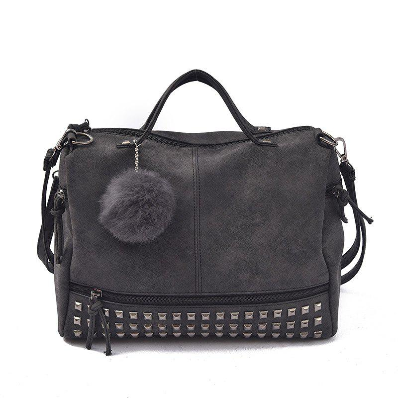 2018 New Hair Ball Ornaments Bag Nubuck Leather Rivet Motorcycle Bag Fashion Portable Bag - BLACK