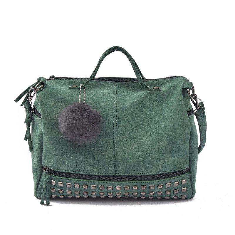 2018 New Hair Ball Ornaments Bag Nubuck Leather Rivet Motorcycle Bag Fashion Portable Bag - GREEN