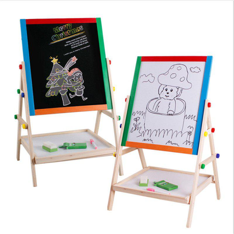 solid wood double-sided magnetic writing board small stenting drawing blackboard - WOODEN VERSION 38*33*65