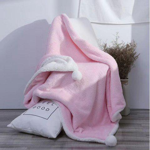 The Four-Horned Rabbit Hair Ball Decorated With Super Soft Lamb Blanket - PINK 150CM X 200CM