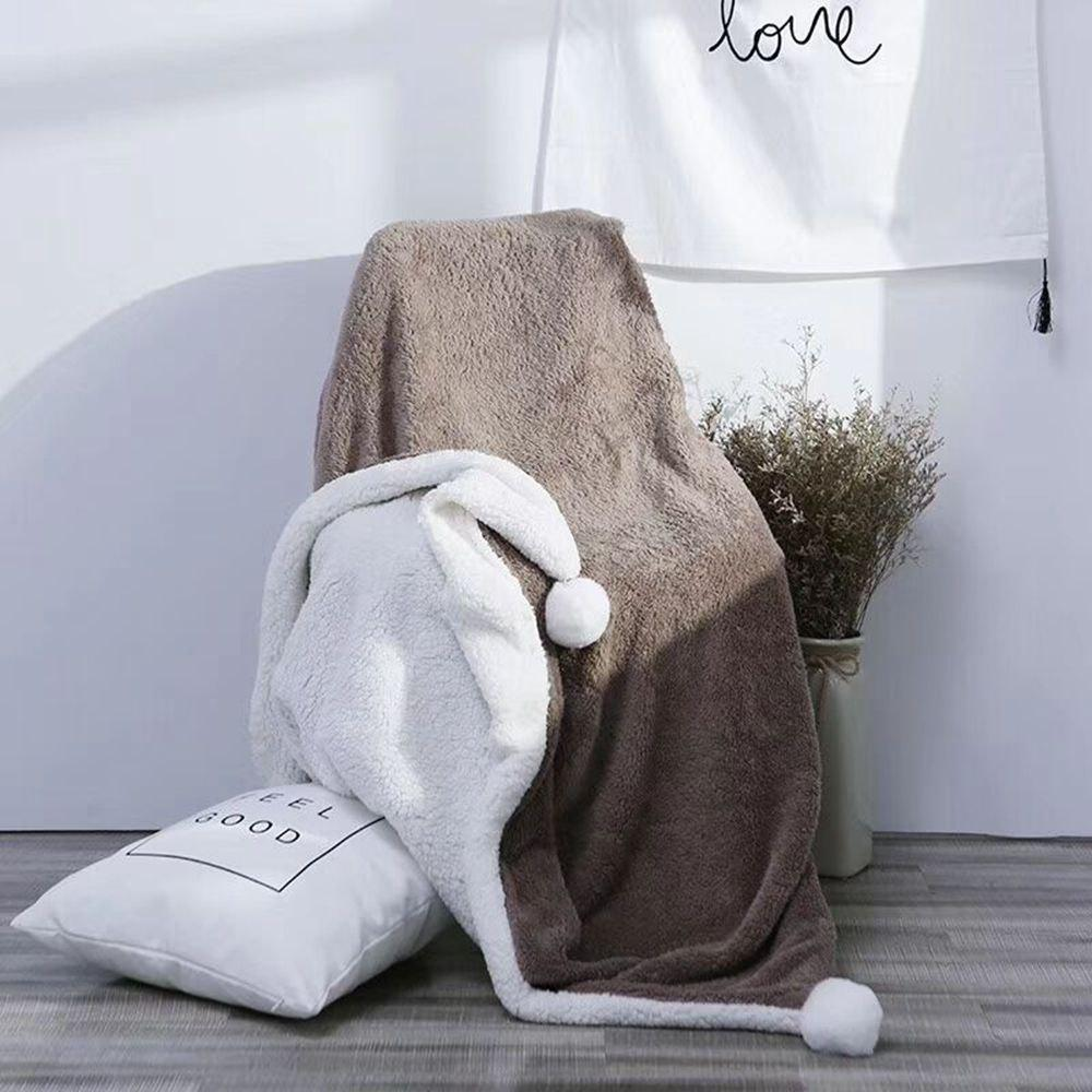 The Four-Horned Rabbit Hair Ball Decorated With Super Soft Lamb Blanket - COFFEE 120CM X 150CM